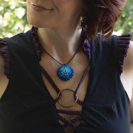 Blue-gradient-quilled-anemone-pendant-model-closeup