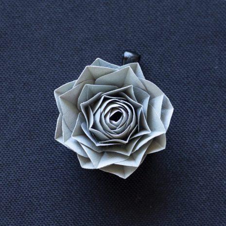 Grey-kirigami-rose-pendant-front