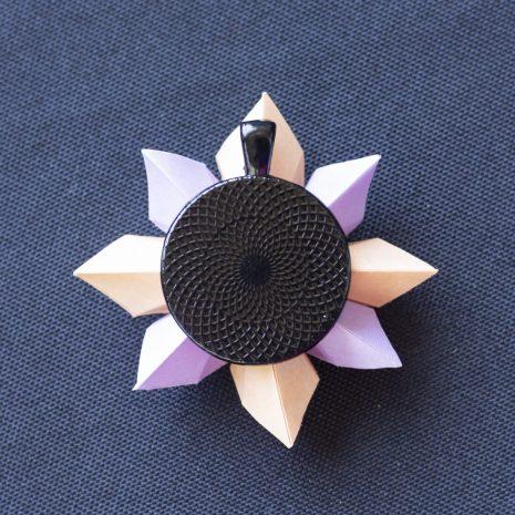 Lavender-apricot-kirigami-pinwheel-pendant-back