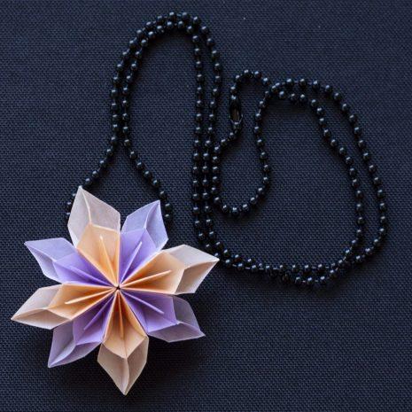 Lavender-apricot-kirigami-pinwheel-pendant-chain