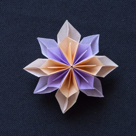 Lavender-apricot-kirigami-pinwheel-pendant-front