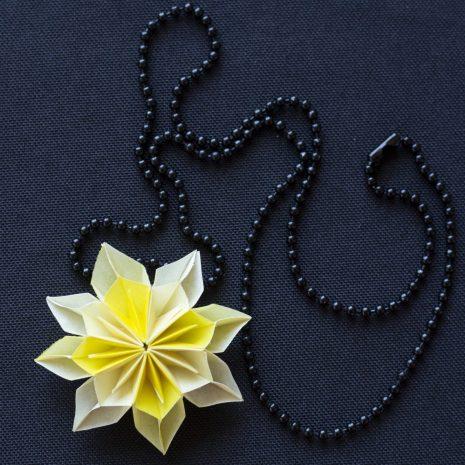 Light-bright-yellow-kirigami-pinwheel-pendant-chain