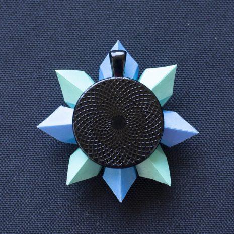 Mint-blue-kirigami-pinwheel-pendant-back