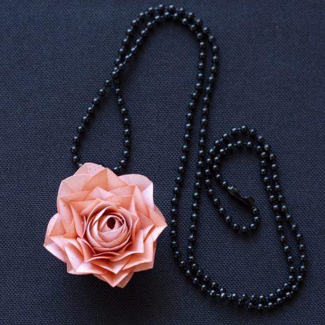 Pink-kirigami-rose-pendant-chain