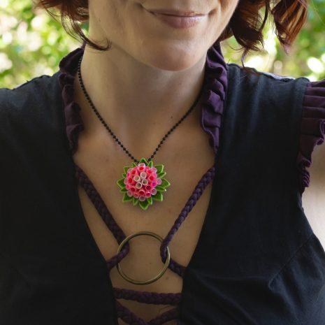 Quilled-flower-anemone-pendant-model-closeup